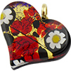 Murano Glass Flat Fused Murano Glass Heart w/Bail Multi Gold Daisy