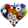 Murano Glass Flat Fused Murano Glass Heart w/Bail Millefiori Multi