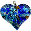 Fused Murano Glass Flat Heart Pendant 40mm Multi and Silver Foil