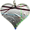 Fused Murano Glass Flat Heart Pendant 40mm Multi Lines and Silver Foil
