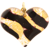Black and Gold Murano Glass Flat Fused 40mm Murano Glass Heart w/Bail