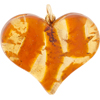 Topaz and Gold Murano Glass Flat Fused 40mm Murano Glass Heart w/Bail