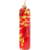 Red and Gold Skinny 10x40mm Pendant W/Bail, Murano Fused Glass