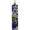 Millefiori Multi Purple Silver Skinny 10x40mm Pendant W/Bail, Murano Fused Glass
