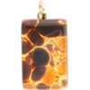 Topaz Gold Foil  20x40mm Pendant W/Bail, Murano Fused Glass