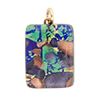 Aqua, Cobalt, Sparkle Gold 20x30mm Pendant W/Bail, Murano Fused Glass