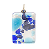Aqua and Blue, Blue Aventurina with Silver Colors 20x30mm Pendant W/Bail, Murano Fused Glass