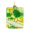 Peridot and Green Zanfirico Gold Foil2X3mm Pendant W/Bail, Murano Fused Glass