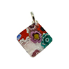 Multi Millefiori Square Fused Murano Glass Pendant in Transparent Colors
