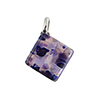 Plum and Aventurina Square Fused Murano Glass Pendant in a Diamond Dangle