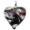 Black and White Swirl Silver Foil Lampwork Murano Glass Heart Pendant