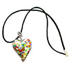 Klimt Millefiori Murano Glass Silver Heart Necklace