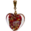 Large Red and Gold Dichroic Heart Murano Glass Pendant