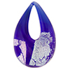 Authentic Murano Glass Lampwork Teardrop Pendant Cobalt, Silver Dichroic, 30mm