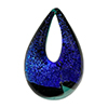Authentic Murano Glass Lampwork Teardrop Pendant Multi Dichroic on Verde Petrolio Base 30mm