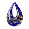 Cobalt and 24kt Gold Foil Authentic Murano Glass Lampwork Small Teardrop
