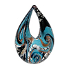Opaque Aqua, with Silver and Aventurina Swirls on Black Authentic Murano Glass Lampwork Small Teardrop