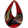 Authentic Murano Glass Lampwork Teardrop Pendant Red and Black Salmon Dichroic