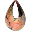 Authentic Murano Glass Lampwork Teardrop Pendant Black Salmon Dichroic