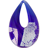 Authentic Murano Glass Lampwork Teardrop Pendant Cobalt, Silver Dichroic
