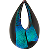 Authentic Murano Glass Lampwork Teardrop Pendant Teal  Dichroic, Black