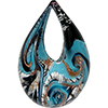Opaque Aqua, Silver, Aventurina, Black Authentic Murano Glass Lampwork Teardrop