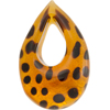 Authentic Murano Glass Lampwork Teardrop Pendant 55mm Topaz Leopard