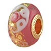 Pink Opalino Serenissima Large Hole Rondel Vermeil Insert 14x8mm