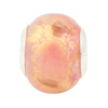 Pink 24kt Gold Foil Large Hole Bead 4.5mm Murano Glass, Silver Insert