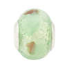Mint White Gold Large Hole Bead 4.5mm Murano Glass, Silver Insert