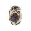 Purple Peony Spring Flowers Rondel PERLAVITA Vermeil Authentic Murano Glass Bead