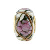 Pink Peony Spring Flowers Rondel PERLAVITA Vermeil Authentic Murano Glass Bead
