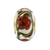 Red Peony Spring Flowers Rondel PERLAVITA Vermeil Authentic Murano Glass Bead