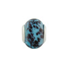 Large Hole Bead 4.5mm Murano Glass Silver Insert, Dark Aqua Caramella Black Sprinkles