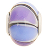 Blue and Purple Striped Large Hole Bead 4.2mm Murano Glass Silver Insert