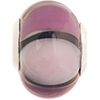 Purple Shades Striped Large Hole Bead 4.2mm Murano Glass Silver Insert