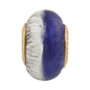 PerlaVita Bi-Color Murano Glass Rondel Plum & Silver 5mm Hole, Gold Plated Insert