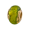 Peridot Exterior Gold Foil Sole Vermeil Insert Large Hole Charm Bead