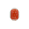 Large Hole Bead 4.5mm Murano Glass Silver Insert, Caramella Bubbles Opaque Red