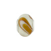 Large Hole Bead 4.5mm Murano Glass Silver Insert, White & Caramel
