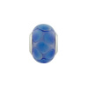 Large Hole Bead 4.5mm Murano Glass Silver Insert, Dots Blue