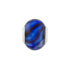 Large Hole Bead 4.5mm Murano Glass Silver Insert, Swirls Cobalt