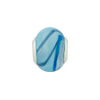 Large Hole Bead 4.5mm Murano Glass Silver Insert, Swirls Blue & Aqua