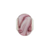 Large Hole Bead 4.5mm Murano Glass Silver Insert, Swirls Pink
