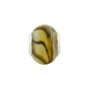 Large Hole Bead 4.5mm Murano Glass Silver Insert, Swirls Topaz