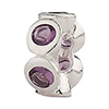 Round n Round - February Birthstone Charm Bead, Large Hole
