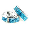 5mm Blue Zircon Crystal Silver Plated Rondelle - Per Piece