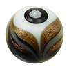 Avventurina Swirls with Millefiori over White and Black Murano Glass Bead, 14mm