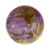 Murano Glass Bead Basilica Millefiori Exterior Gold Foil Round 14mm Pink Flowers