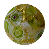 Murano Glass Bead Basilica Millefiori Exterior Gold Foil Round 14mm Green Flowers